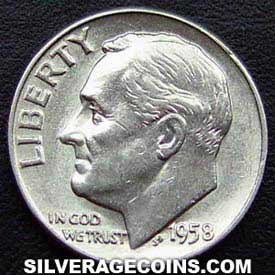 1958 United States Silver Roosevelt Dime 10 Cents