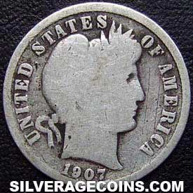 1907 United States Silver Barber Dime 10 Cents