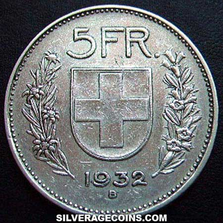 1932b 5 Silver Swiss Francs William Tell
