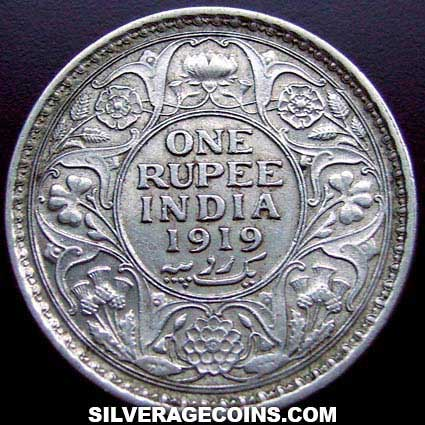1919 C George V British India Silver Rupee