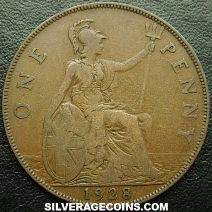 1928 George V British Bronze Penny