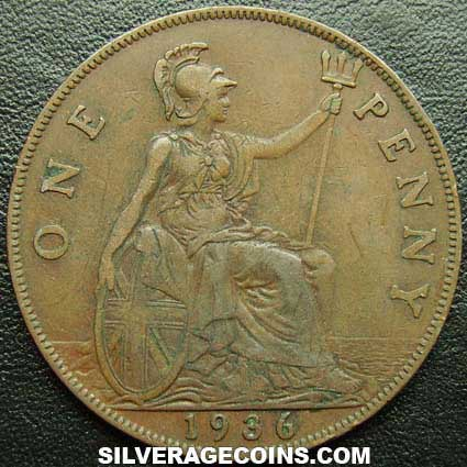 1936 George V British Bronze Penny