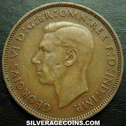 King George VI GREAT BRITAIN 1938-1 Farthing  Bronze Coin