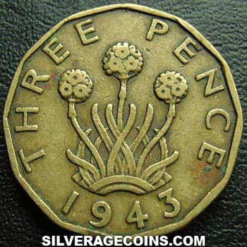 1943 George VI British Brass Threepence