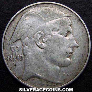 1949 Leopold III Belgian Silver 20 Francs (French, medal alignment)