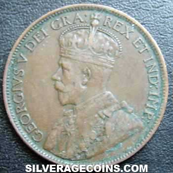 1918 George V Canadian Bronze Cent