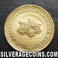 1987 15 Dollars Australian One Tenth Ounce Gold Nugget