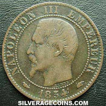 1854A Napoleon III French Bronze 5 Cents