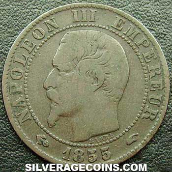 1855A (a) Napoleon III French Bronze 5 Cents