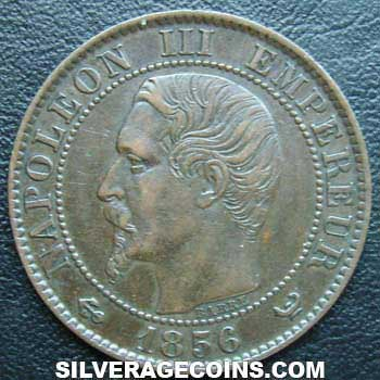 1856W Napoleon III French Bronze 5 Cents