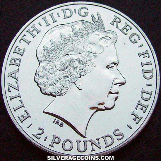 2011 2 Pounds 1 Ounce Silver Britannia (Union Flag)