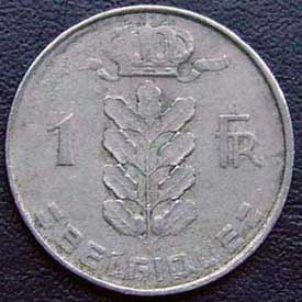 1956 Belgian Franc (French, coin alignment)