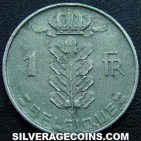 1958 Belgian Franc (French, coin alignment)
