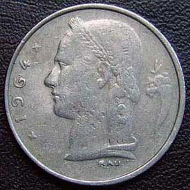 1964 Belgian Franc (French, coin alignment)