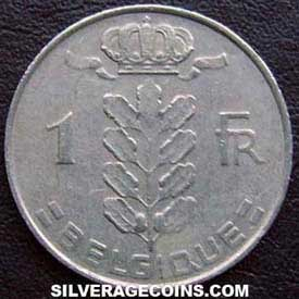 1966 Belgian Franc (French, coin alignment)