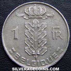 1967 Belgian Franc (French, coin alignment)