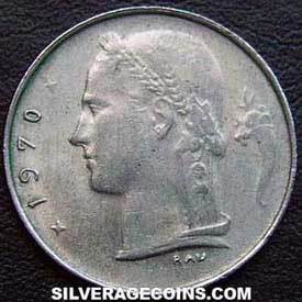 1970 Belgian Franc (French, coin alignment)