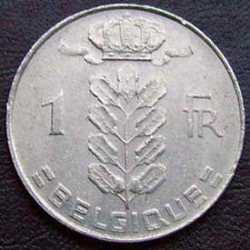 1975 Belgian Franc (French, coin alignment)