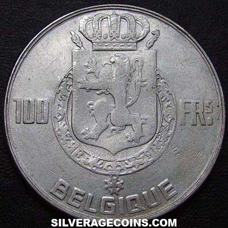 1950 Belgian Silver 100 Francs (French, coin alignment)