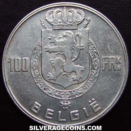 1951 Belgian Silver 100 Francs (Dutch, coin alignment)