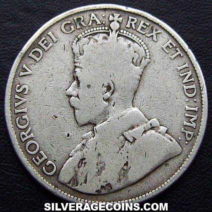 1913 George V Canadian Silver 50 Cents