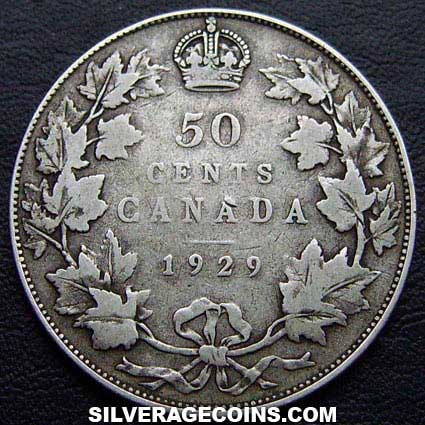 1929 George V Canadian Silver 50 Cents