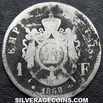 1868BB Napoleon III French Silver Franc (.835)