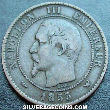 1853W Napoleon III French Bronze 10 Cents