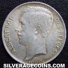 1912 Albert I Belgian Silver 50 Centimes (French)
