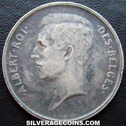 1911 Albert I Belgian Silver 2 Francs (French)