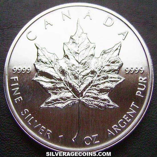 1993 Canadian 5 Dollars 1 Ounce Silver Maple Leaf