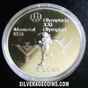 1975 Proof Canadian Silver Proof 5 Dollars (Montreal Olympics)