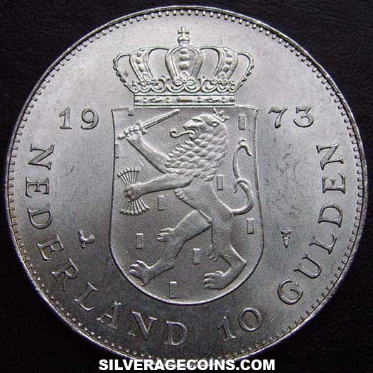 1973 Netherlands Juliana Silver 10 Gulden