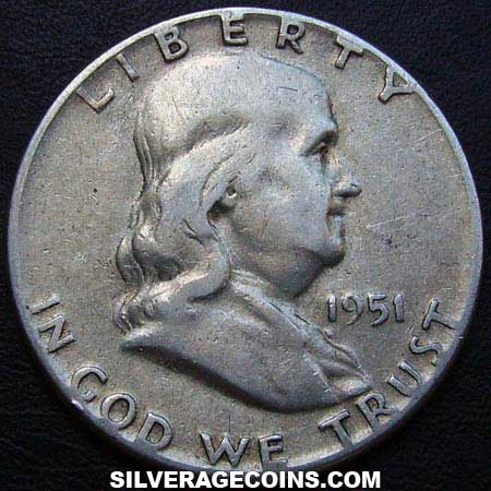 1951 United States Franklin Silver Half Dollar