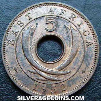 1952H East African Bronze 5 Cents