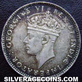 1937H George VI East Africa Silver 50 Cents