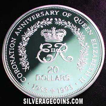 1993 Proof Niue Silver Proof 20 Dollars (40th anniversary)