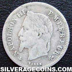 1866A Napoleon III French Silver 20 Cents (.835)