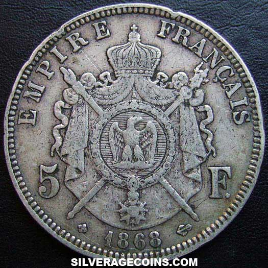 1868BB Napoleon III French Silver 5 Francs