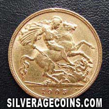 1905 Edward VII British Gold Half Sovereign