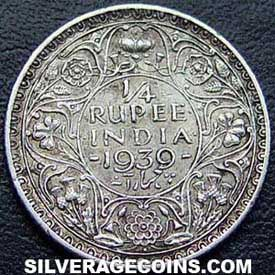 1939(b) George VI British India Silver Quarter Rupee