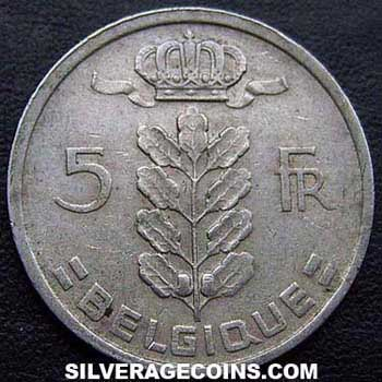 1950 Belgian 5 Francs (French, coin alignment)