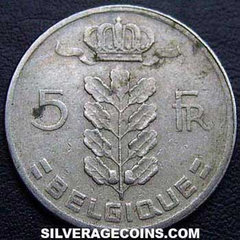 1961 Belgian 5 Francs (French, coin alignment)