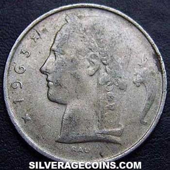 1963 Belgian 5 Francs (French, coin alignment)