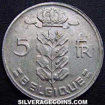1965 Belgian 5 Francs (French, coin alignment)