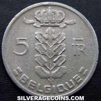 1967 Belgian 5 Francs (French, coin alignment)