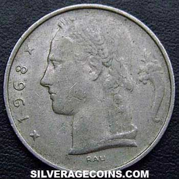 1968 Belgian 5 Francs (French, coin alignment)