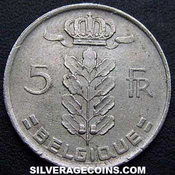 1976 Belgian 5 Francs (French, coin alignment)