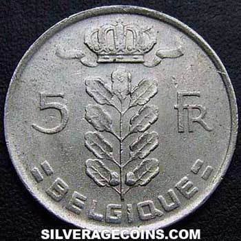 1977 Belgian 5 Francs (French, coin alignment)