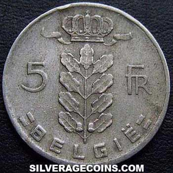 1961 Belgian 5 Francs (Dutch, coin alignment)